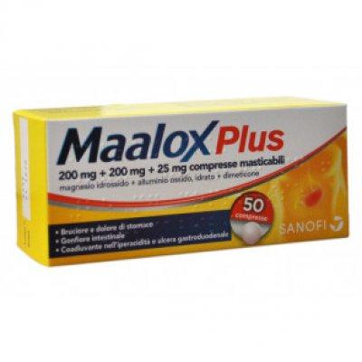 MAALOX PLUS*50 cpr mast 200 mg + 200 mg + 25 mg